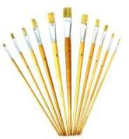 12-Piece Artist Brush Set - Natural Soft Bristles - Wood Handles