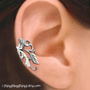 925. Poppy Flower Leaf - Sterling Sliver ear cuff earring jewelry - non pierced earcuff clip 011113