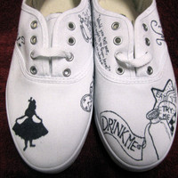 Custom Alice in Wonderland Canvas Sneakers