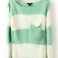 # Free Shipping # Blue Stripe Women Knitting Sweater S/M/L VG30123bl from ViwaFashion