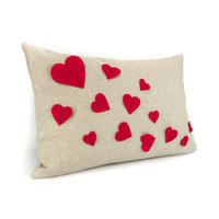 Growing hearts pillow cover - Red felt hearts applique on natural beige canvas accent pillow cover - 12x18 lumbar pillow cover