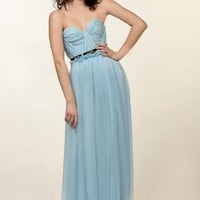 Blue Formal Dress - Violet Silk Chiffon Strapless Gown | UsTrendy