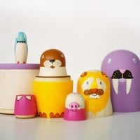 6 nesting dolls // five animals by bneiman on Etsy