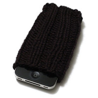 Knit iPhone Sleeve - 4/4S Sock - Cell Phone Cozy - Black - Acrylic Yarn