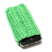 Knit iPhone Sleeve - 4/4S Sock - Cell Phone Cozy - Lime Green - Acrylic Yarn