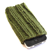 Knit iPhone Sleeve - 4/4S Sock - Cell Phone Cozy - Army Green - Acrylic Yarn