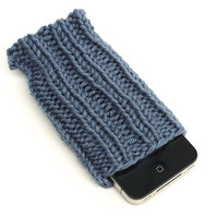 Knit iPhone Sleeve - 4/4S Sock - Cell Phone Cozy - Light Country Blue - Acrylic Yarn