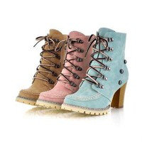 New Design Women's Ankle High Heel Boots Lace Up Fashion Shoes 3 colors