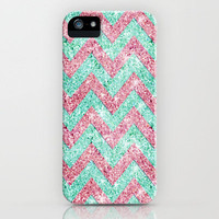 Chevron Pattern, Pink & Teal iPhone Case