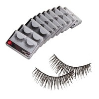 New 10 Pair Reusable Charming Cross Fake False Eyelashes Glue Adhesives Eye Lashes Makeup Black 57
