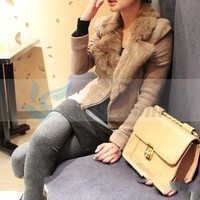 Korean Lapel Fur Collar Zipper Coat Camel-QM-XF11082306-1 from VanclStore-Women Clothing
