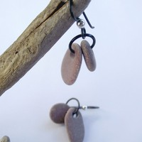 Pebble ear rings. Hypo allergenic