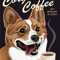 """Corgi Coffee"" Retro Print"