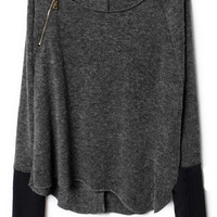 Dark Grey Zippered Curved Hem Jumper - Sheinside.com