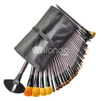 34 Pcs Black Wool Head Professional Make Up Brush With Black Bag -  Milanoo.com