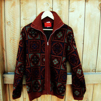 vintage oversized sienna zip up cardigan by Jantzen. made in USA. size M to L. unisex sweater