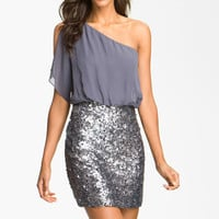 Aidan Mattox Sequin One Shoulder Chiffon Dress | Nordstrom