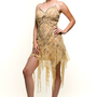 Flapper Dress Gold Lace 20&#x27;s Style Mini Dress