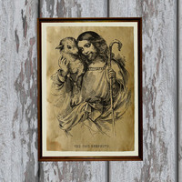 Jesus Christ print Antique paper Antiqued decoration