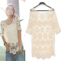 Elegant Crochet Lace Top Hand Knit Flower Cut Out Shirt Blouse S Beige #Ti1