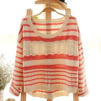 Pink Loose Hollow Stripe Sweater
