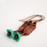 Rustic copper earrings with blue flowers by BlueberryCream on Etsy