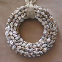Seashell wreath, 10 inch, beach wreath, coastal decor, blue