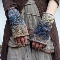 Storm Warmers hand knitted fingerless cable gloves by InnerWild