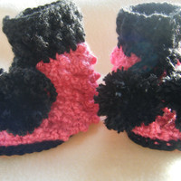 Bright Pink and Black Baby Booties Newborn to 3 Months
