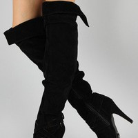 Anne Michelle Joy-13 Slouchy Cuff Thigh High Boot