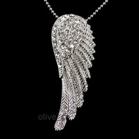 Twinkling Big Angel Wing 5cm Long Use Swarovski Crystal Necklace
