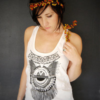 Impala Tank - womens white tribal racer back jersey tank top - by Bark Decor