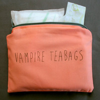 INdiscreet Zip Pouch for Tampons, Menstrual Pads, Feminine Products - vampire teabags