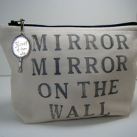 Mirror Mirror Hand Stamped Cosmetic Makeup Travel Makeup Bag Muslin Black