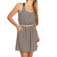 Taupe/Black Chevron X Back Dress