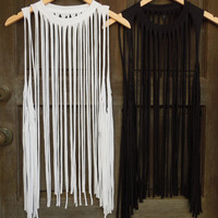 Complete White and Black Fringe Tank Set