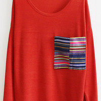 @Free Shipping@ Women Cotton Red T-Shirt One Size VG3014r from Voguegirlgo