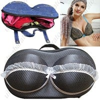 Portable Traveling Dot Patterned Bra Bag Eva Bag Underwear Bag for Women Ladies