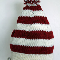 Striped Christmas Hat Ready to Ship by SunshineRoseDesign on Etsy
