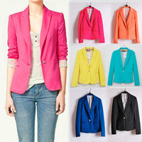 Women's one-button Bright Color Blazer Tops Jacket Outerwear Casual Suit