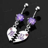 2 BEST FRIEND Crystal Belly Navel Bars Rings Piercing