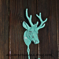 AQUAMARINE BLUE Deer w/ Antlers Wall Hook by AquaXpressions