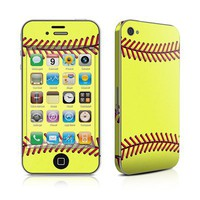 Softball Design Protective Decal Skin Sticker (High Gloss Coating) for Apple iPhone 4 / 4S 16GB 32G