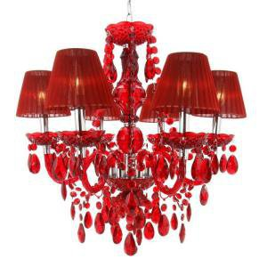 Concerto 6-Light Red Chandelier-708C/6RD at The Home Depot