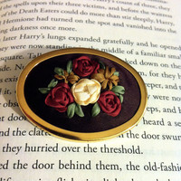 Embroidered Rose Brooch Silk Ribbon by BeanTownEmbroidery on Etsy