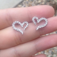 Rhinestone Heart Earrings- silver