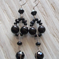 Vixen Lavish Faceted Black &amp; Silver Drop by VenganzyJewelry