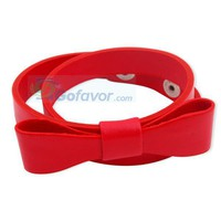 Fashion Red Bow Leather Wrap Bracelet at Cheap Fashion Jewelry Store Gofavor