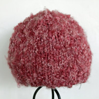 Woman&#x27;s Fuzzy Pink Beanie Ready to Ship by SunshineRoseDesign