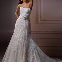 Ivory Over Light Gold Floral Lace Strapless Destination Wedding Dress - Unique Vintage - Cocktail, Evening &amp; Pinup Dresses